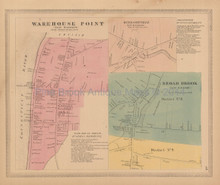 Warehouse Point Windsorville Connecticut Antique Map Baker Tilden 1869
