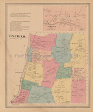 Enfield Scitico Connecticut Antique Map Baker Tilden 1869