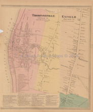 Thompsonville Enfield Connecticut Antique Map Baker Tilden 1869