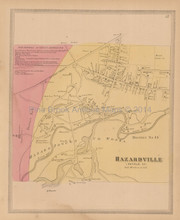 Hazardville Connecticut Antique Map Baker Tilden 1869