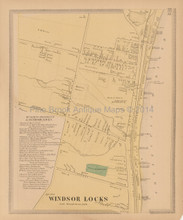 Windsor Locks Village Connecticut Antique Map Baker Tilden 1869