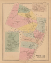 Town Of Windsor Connecticut Antique Map Baker Tilden 1869
