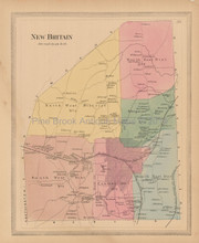 New Britain Connecticut Antique Map Baker Tilden 1869