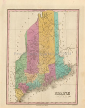 State Of Maine Antique Map Finley 1833