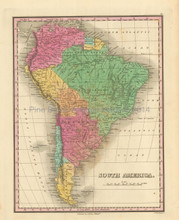 South American Continent Antique Map Finley 1833