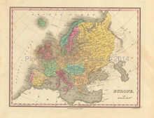 European Continent Antique Map Finley 1833
