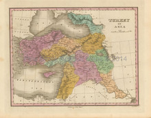 Turkey in Asia Middle East Antique Map Finley 1833