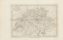 Switzerland Antique Map Harrison 1785