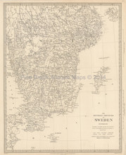 Southern Sweden Antique Map SDUK 1833