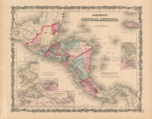 Central America Antique Map Johnson 1862