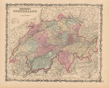 Switzerland Antique Map Johnson 1862