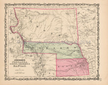 Colorado Dakota Antique Map Johnson 1863