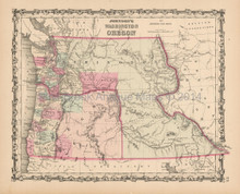 Oregon Washington Territory Antique Map Johnson 1863