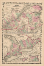 Upper Lower Canada Antique Map Johnson 1863
