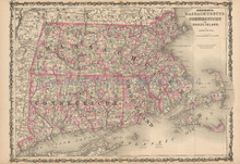Connecticut Massachusetts Antique Map Johnson 1863