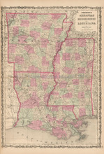Arkansas Louisiana Antique Map Johnson 1863