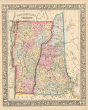 New Hampshire Vermont Antique Map Mitchell 1864