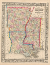 Louisiana Mississippi Antique Map Mitchell 1864