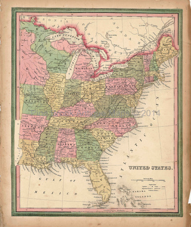 Antique Map United States USA Tanner Pine Brook Antique Maps - 1845 us map