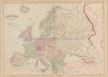 Europe Antique Map Asher & Adams 1873