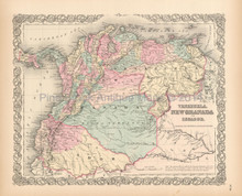Venezuela Colombia Antique Map Colton 1855