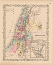 Palestine Sinai Antique Map Colton 1856