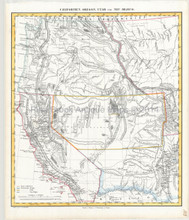 Western United States Antique Map Flemming 1850
