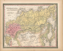 Antique Map Russia Tartary Asia Tanner 1845