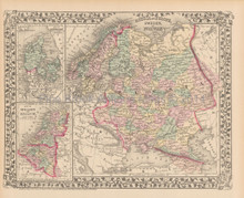 Russia Scandinavia Antique Map Mitchell 1876