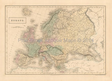 Europe Antique Map Black 1851