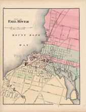 Fall River Massachusetts Antique Map Walling 1871
