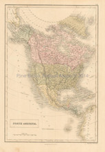 North America Antique Map Black 1851
