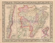 Brazil Bolivia Chili Antique Map Mitchell 1864