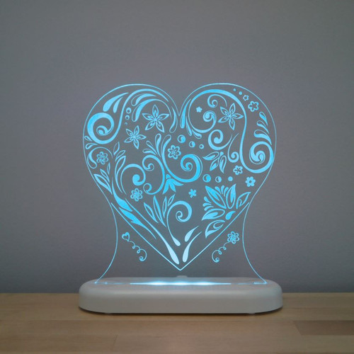 Aloka Night Light Heart Aqua Blue