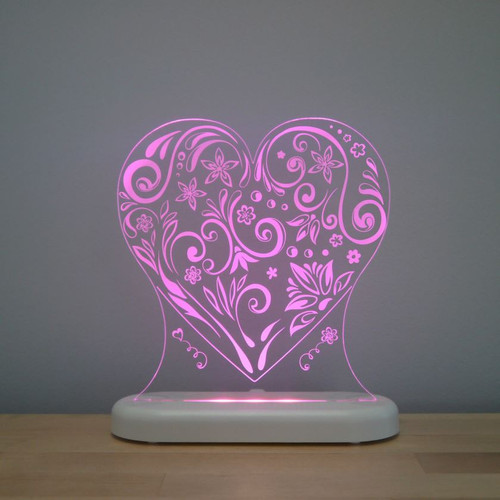 Aloka Night Light Heart Bright Pink