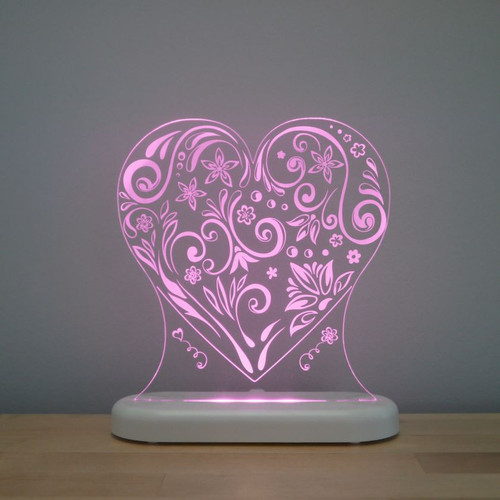 Aloka Night Light Heart Pink