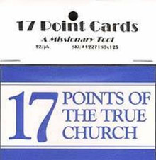 17 Points of the True Church Cards (Cards, Package of 12) *
