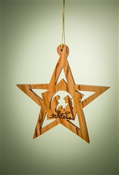 """Star with Stable and Nativity Inside Olive Wood from Bethlehem 3"""" *"""