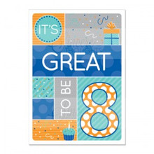 "Boy ""Great to be 8″ Baptism Card *"