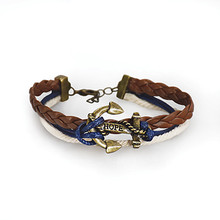 Navy Braided Anchor Bracelet