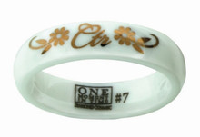 Rosa Flower CTR Ring  (White Diamond Ceramic with Rose Gold Inlay) *