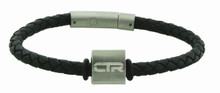 Leather CTR Bracelet W/Stainless Steel Parts Triangle Surface with magnetic clasp. *