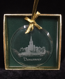 Glass Temple Ornament Etched Vancouver