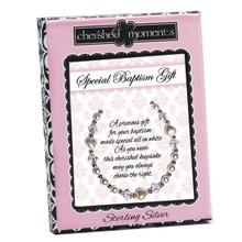 Sterling Silver Baptism Bracelet w/Pearl Heart  *