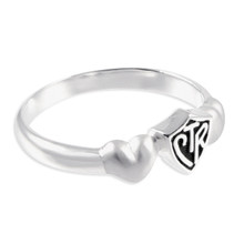 Satin Hearts CTR Ring (Antiqued Sterling Silver) *