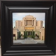 Cardston Temple Canvas - 7x7 framed to 10x10 by Robert Boyd