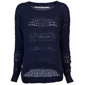 Twelfth St by Cynthia Vincent Tape Yarn Pullover (Navy)