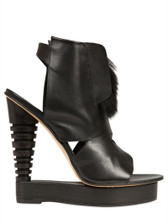 Alain Quilici Fur Trim Cutout Wedge