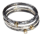 Condemned to Be Free Silver & 24k Gold Diamond Stackable Ring Set