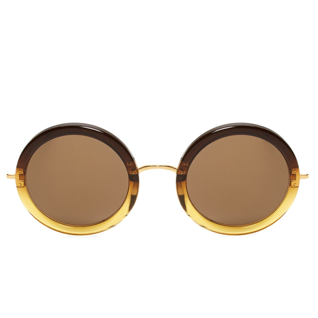 f5b98bd77046 ... Linda Farrow x The Row Round Sunglasses (Yellow Brown). Image 1